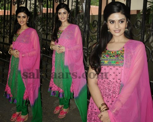 Srimukhi in Baby Pink Salwar