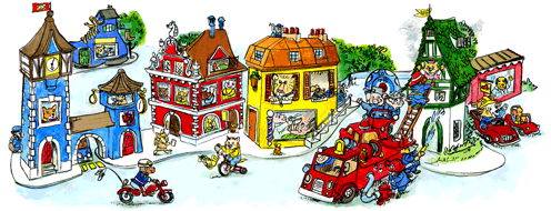"Watercolor art depicting ""Busytown"" a fictional setting in a series of children's books by author and illustrator, Richard Scarry. Created by Mike Dutton."