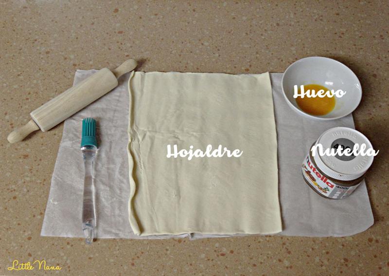 Receta facil hojaldres de nutella merienda desayuno
