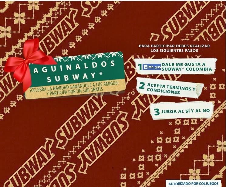 """Concurso Subway Colombia """"Aguinaldos Subway"""""""