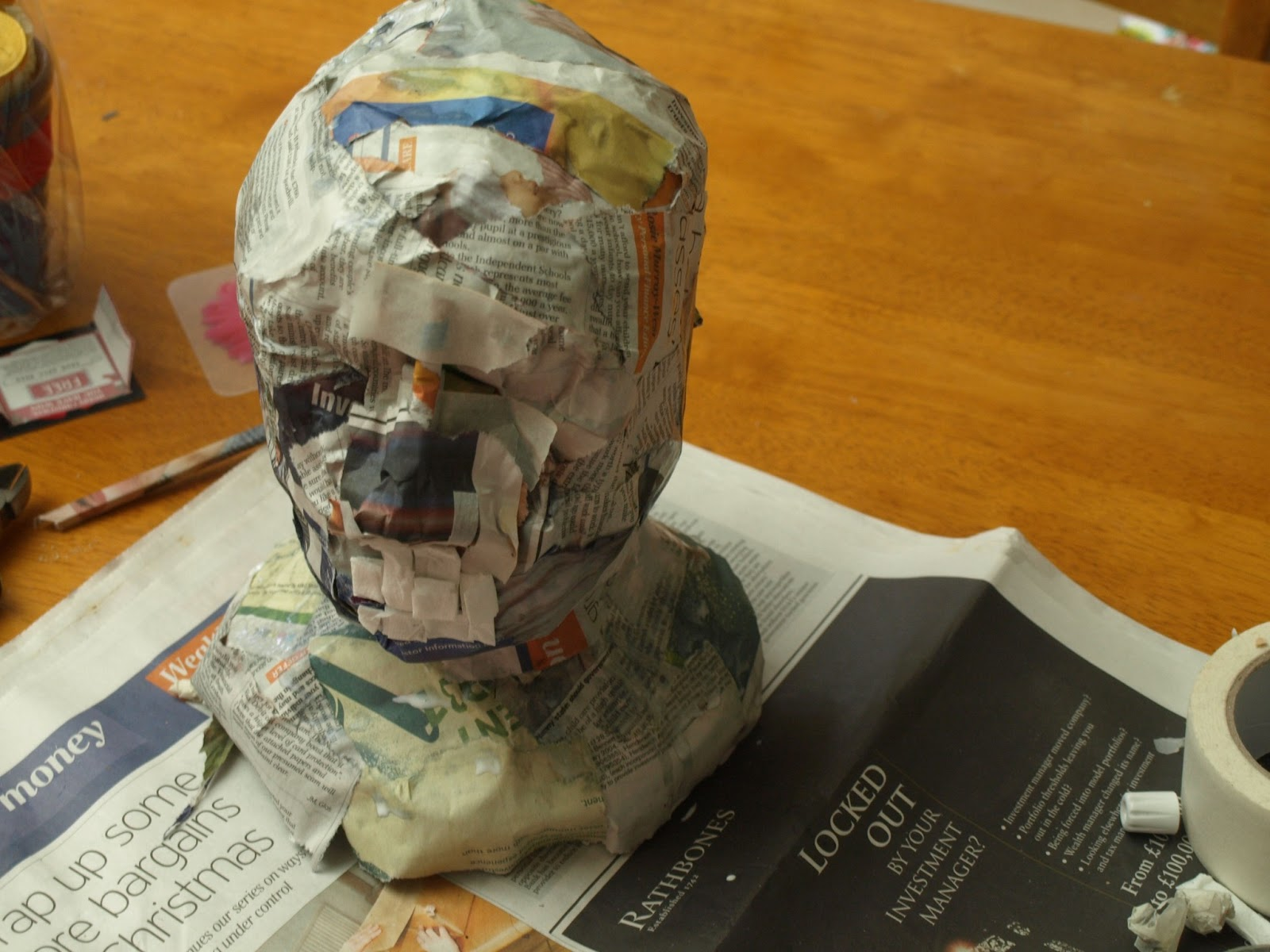 Lace hearts making of a papier mache head for Homemade papier mache