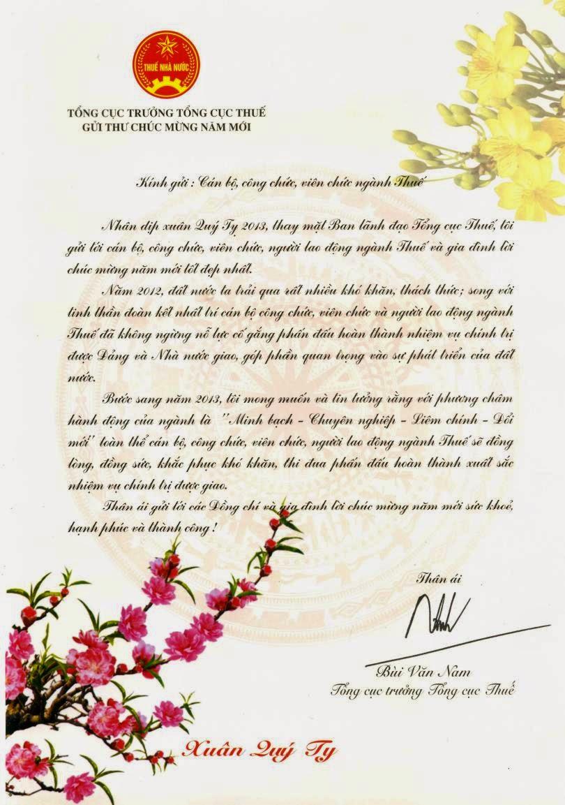 Tổng cục trưởng Tổng cục Thuế gửi thư chúc mừng xuân Quý Tỵ 2013