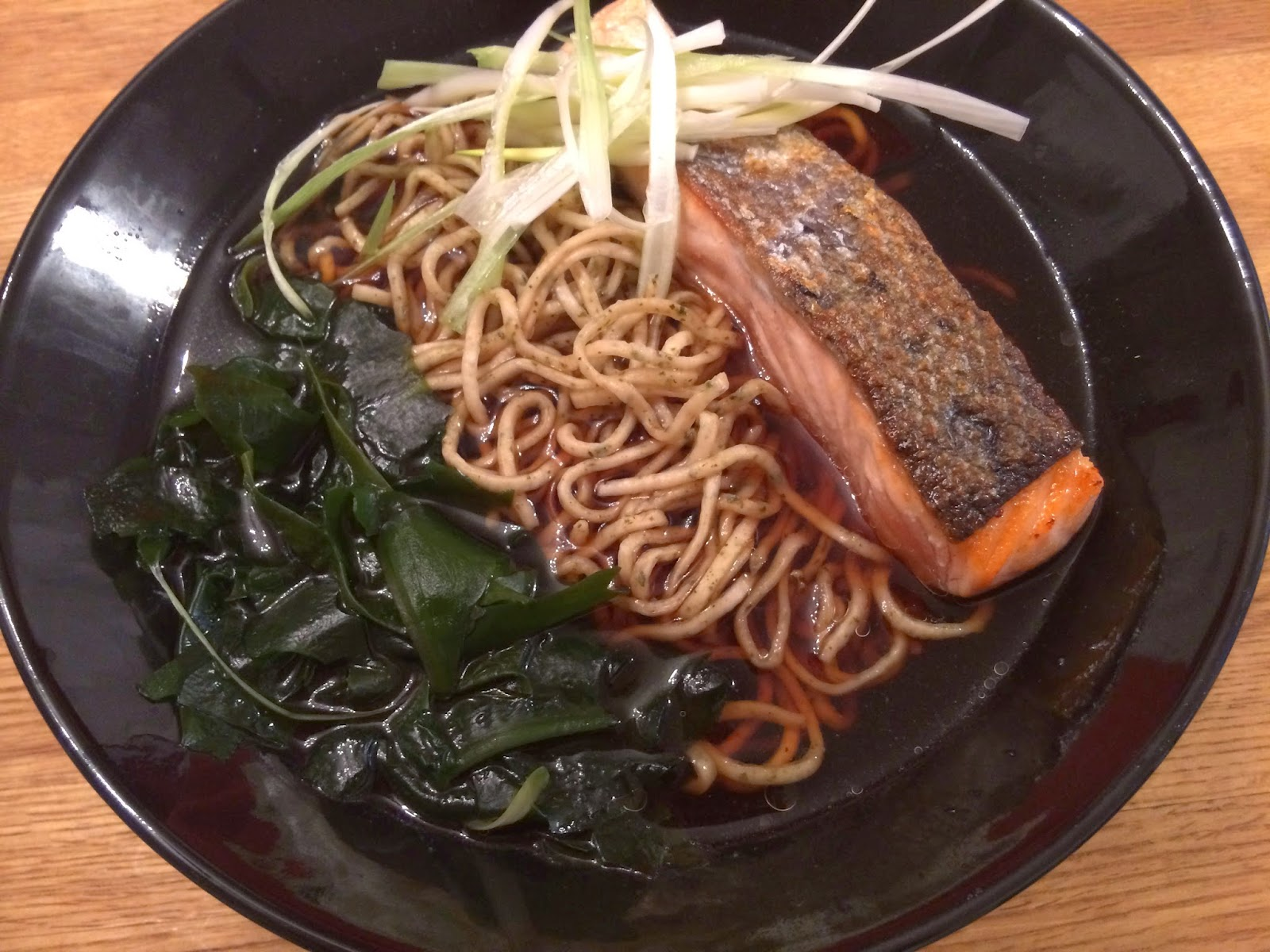 green tea noodles, Japanese noodles, noodle soup, noodles, recipe, salmon