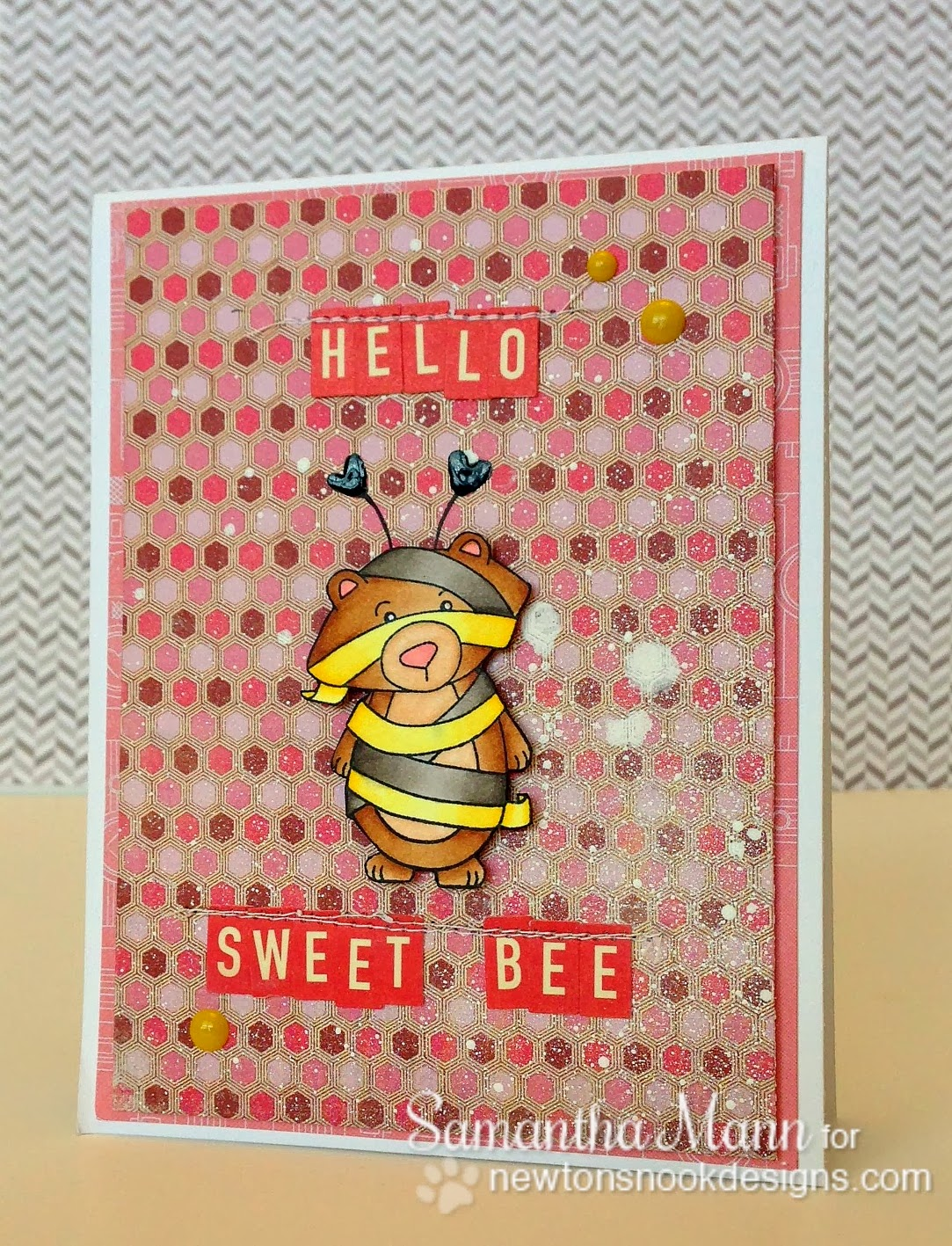 Bee Card using Boo Crew Stamp set by Samantha Mann for Newton's Nook Designs