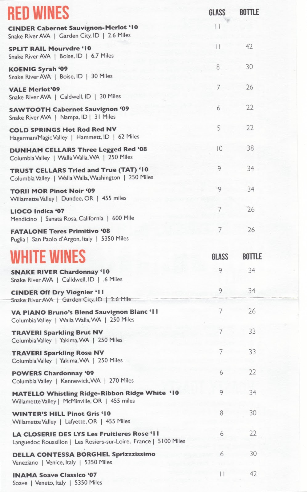 The Gray Report: Wine list idea: Distance from restaurant