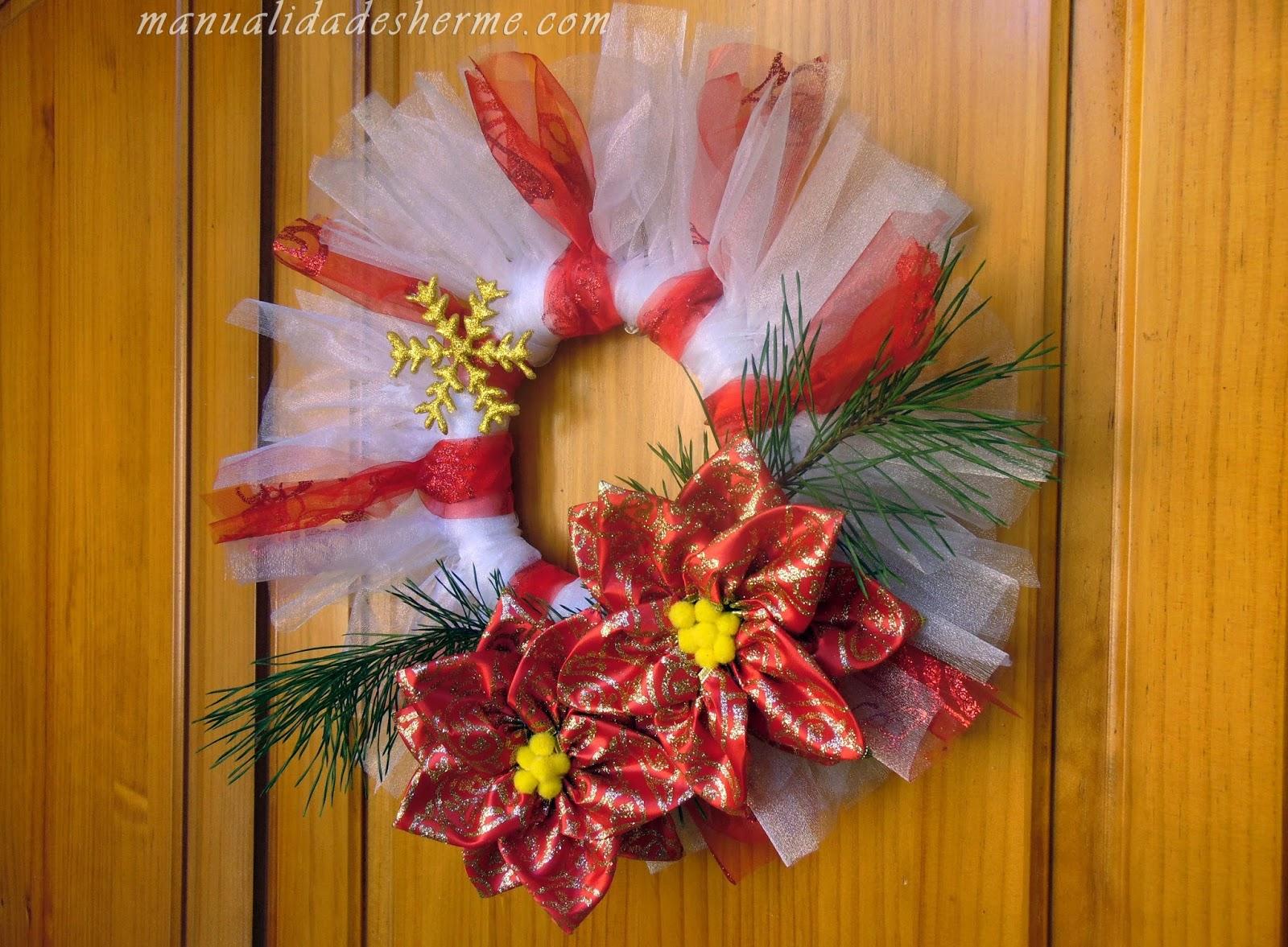 Manualidades herme como hacer flores para decorar en navidad - Manualidades para decorar la mesa en navidad ...