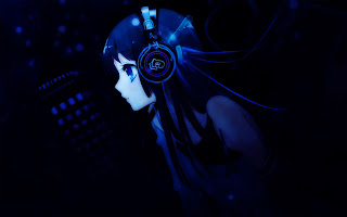 Sweet Anime Girl blue Headphone HD Wallpaper