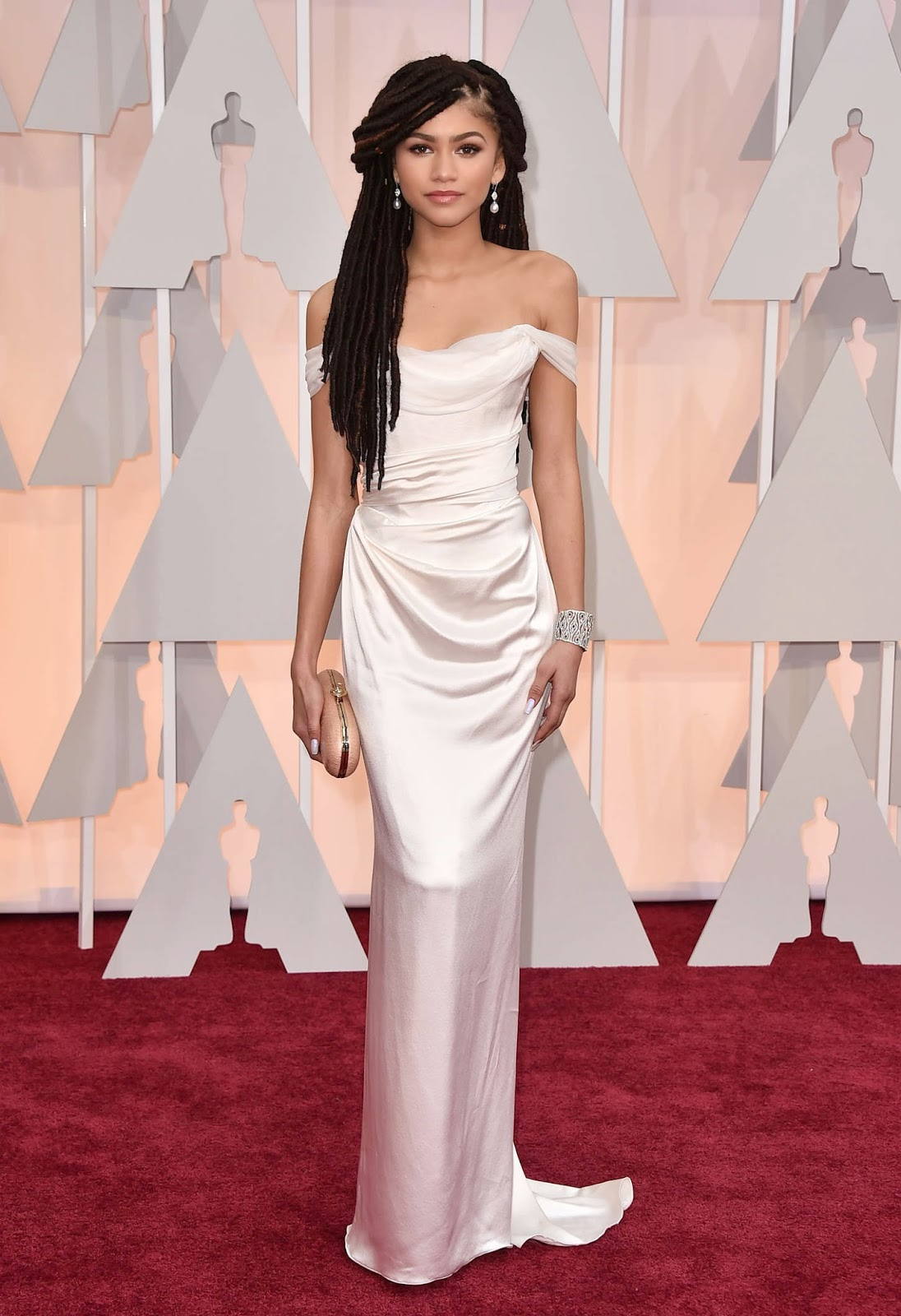 Zendaya Coleman wears dreadlocks and Vivienne Westwood to the 2015 Oscars in Hollywood