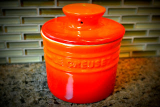 orange butter crock