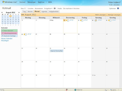 Outlook.com Kalender mit Wetter
