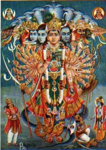 Krishna Vishwarupa, a very large human figure with many hands, many heads
