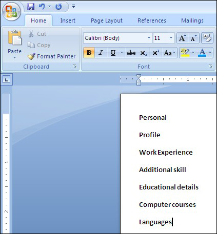 creating resume in word 2007
