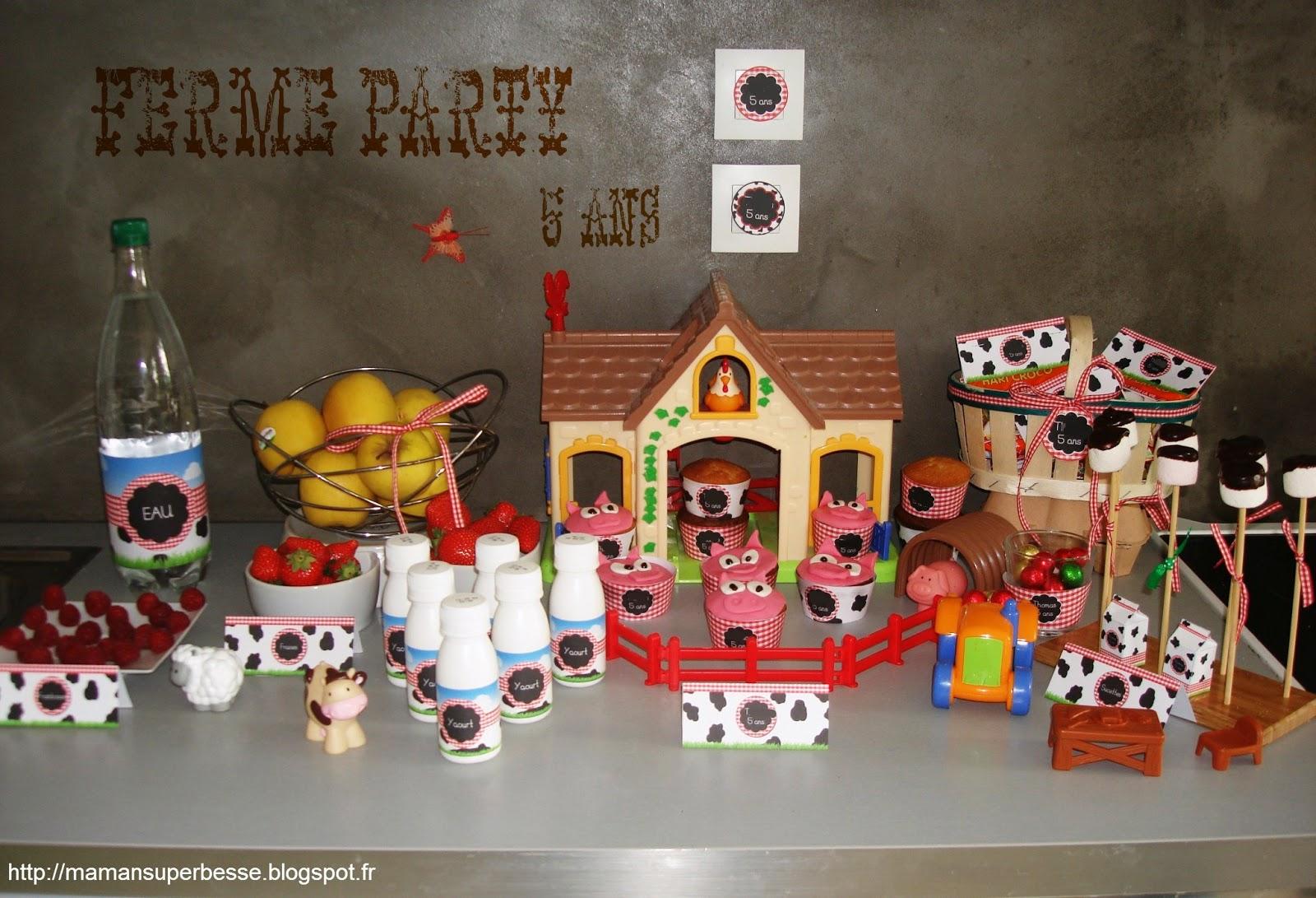 Ferme party anniversaire des 5 ans y 39 a maman la maison for Decoration 5 ans de mariage