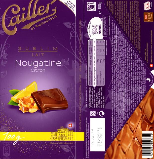 tablette de chocolat lait gourmand cailler sublim lait nougatine citron