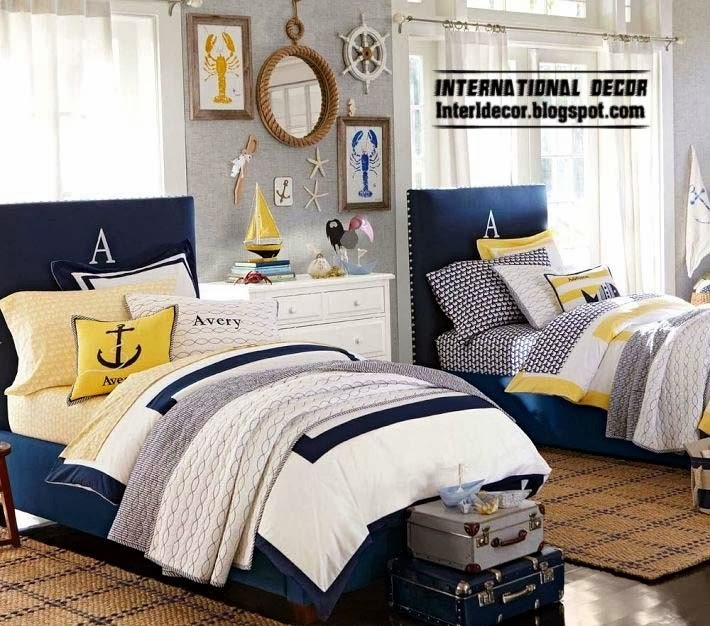 marine style teenage room design ideas, dark blue beds