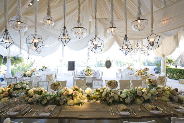 The combination of fabric and assorted lanterns give this tent an eclectic vibe. & A.Caldwell Events | These Looks Are In-Tents!