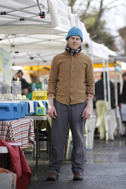 Patrick Stickney wool coat beanie seattle street style fashion Samish Bay Cheese farmers market