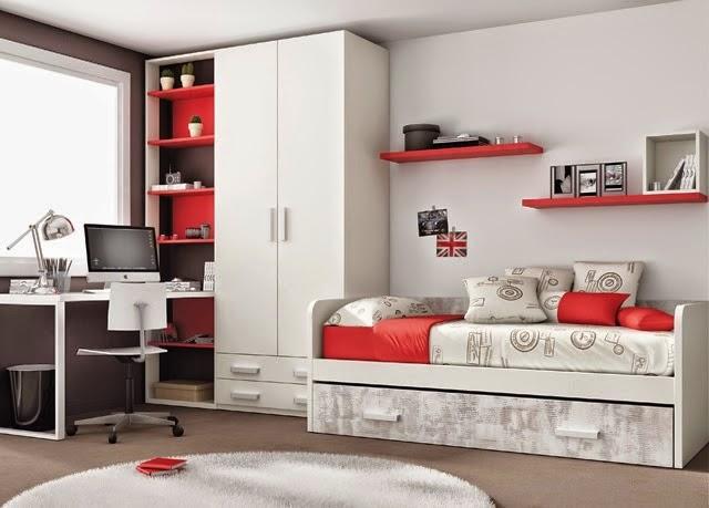 habitacion juvenil con cama nido,armario y zona de estudio