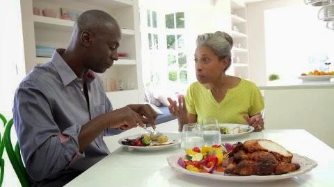 Older couple eating
