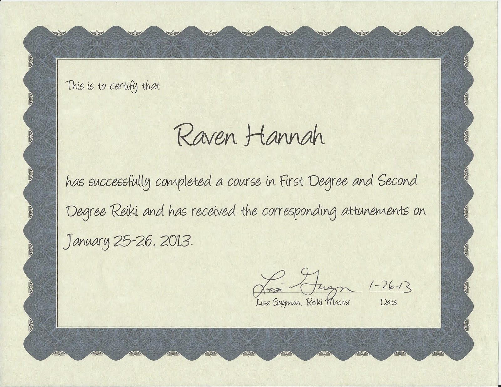 Certified Reiki Practitioner