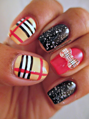 KKCenterHK, Plaid Bow, Checkered Bow, brown, tan, nude, red, black, white, burberry, nails, nail art, nail design, mani
