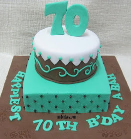 Anis Who Ordered A Cake For Her Moms Birthday Not Long Ago Commissioned Us Another His Dad Turquoise Brown And White Were The Colours She