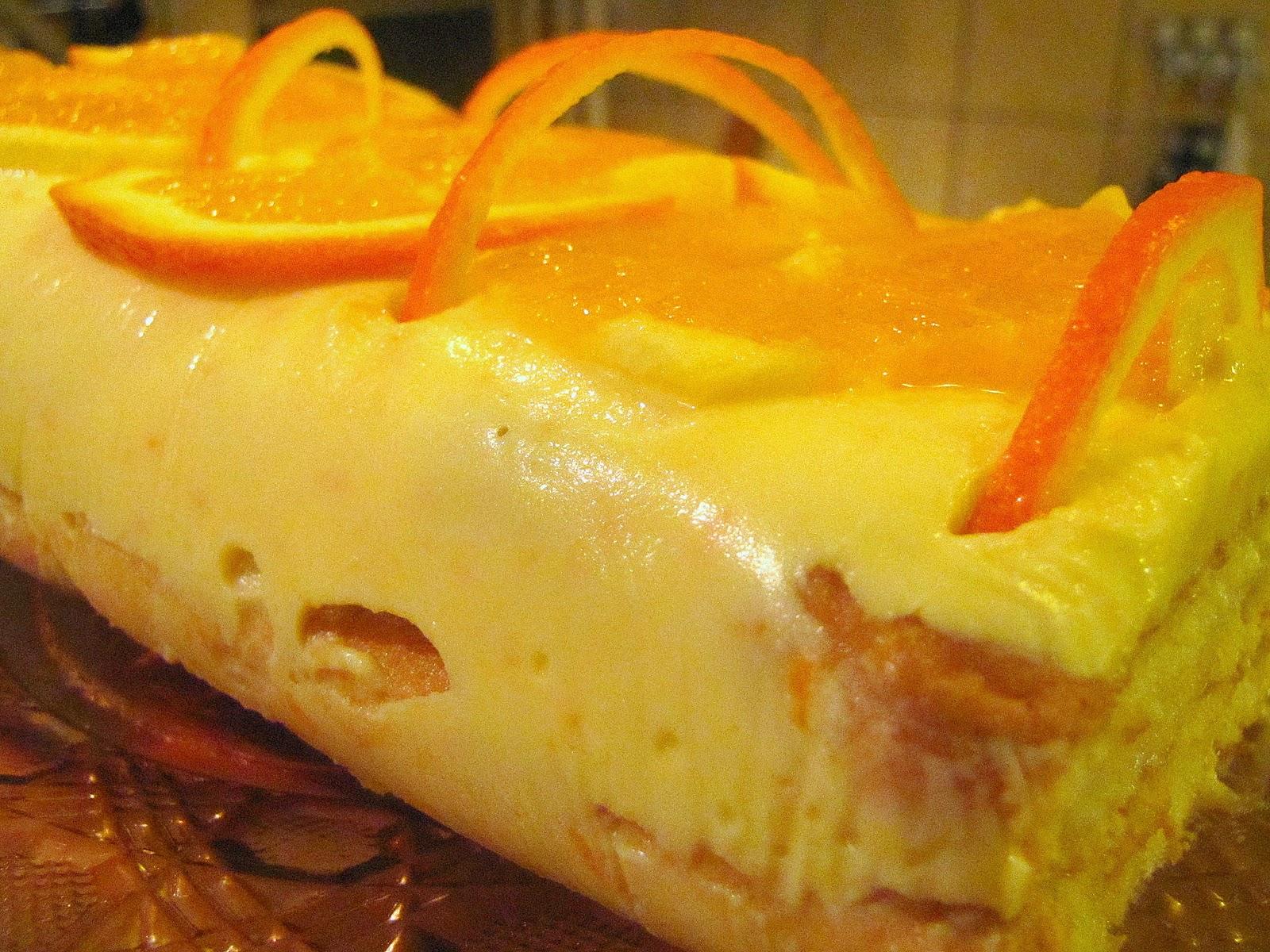 Prajitura cu piscoturi si crema de portocale