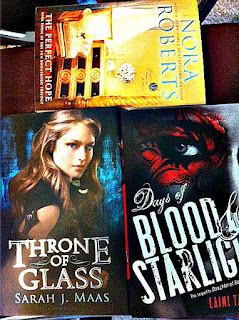 The Perfect Hope Nora Roberts Throne of Glass Sarah J Maas Dayts of Blood and starlight laini taylor
