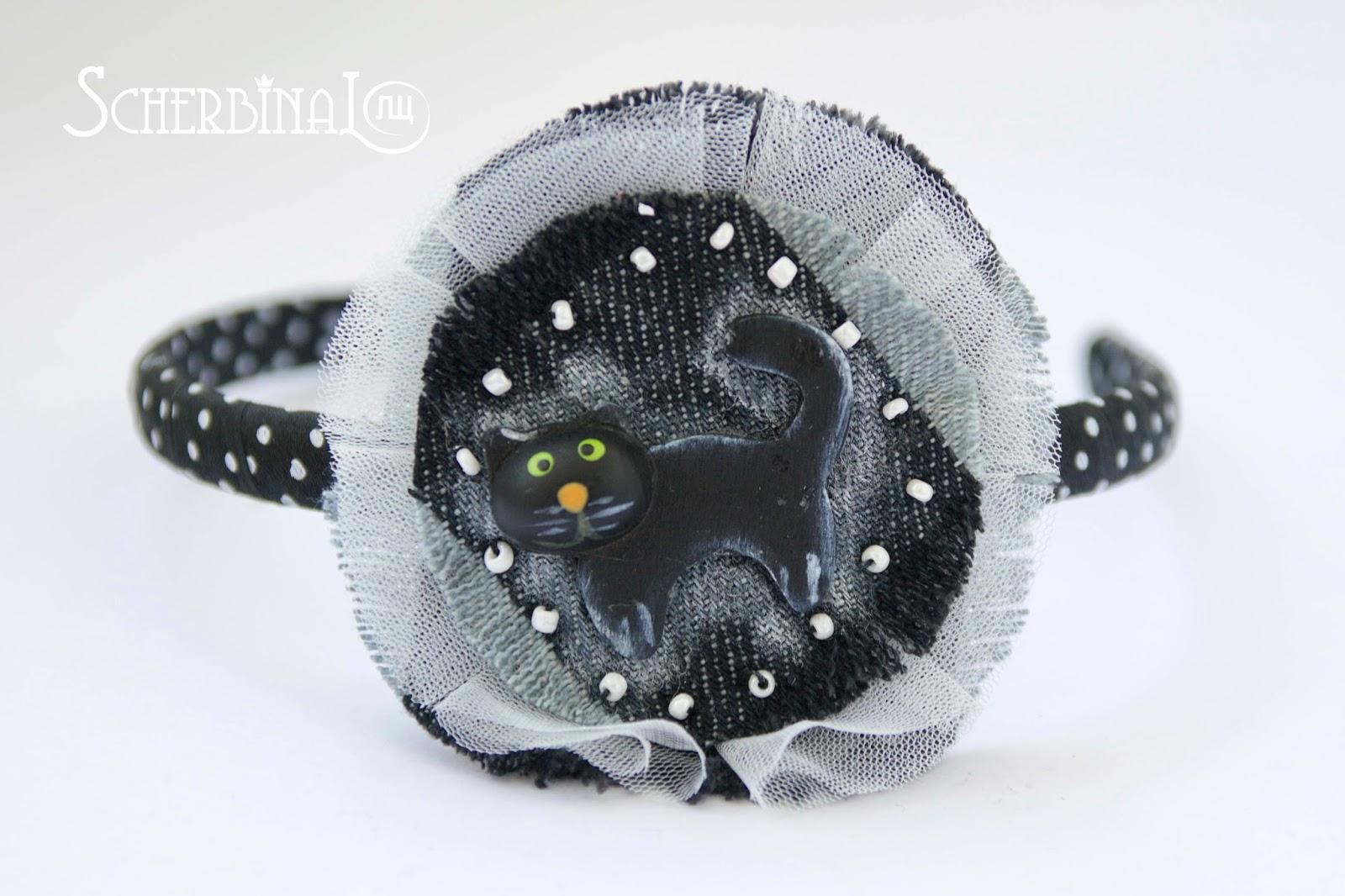 ободок на голову, чёрная кошка