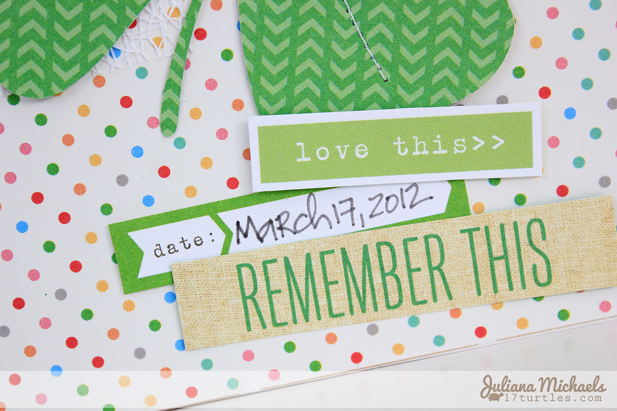 Detail 1 of Lucky You Scrapbook Page for Elle's Studio by Juliana Michaels