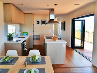 modular kitchen with wooden flooring