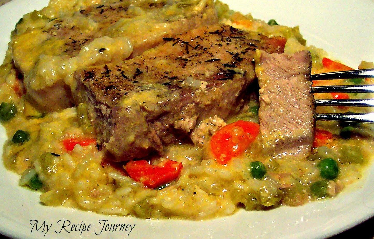 One Pan Baked Pork Chops on Veggie Rice