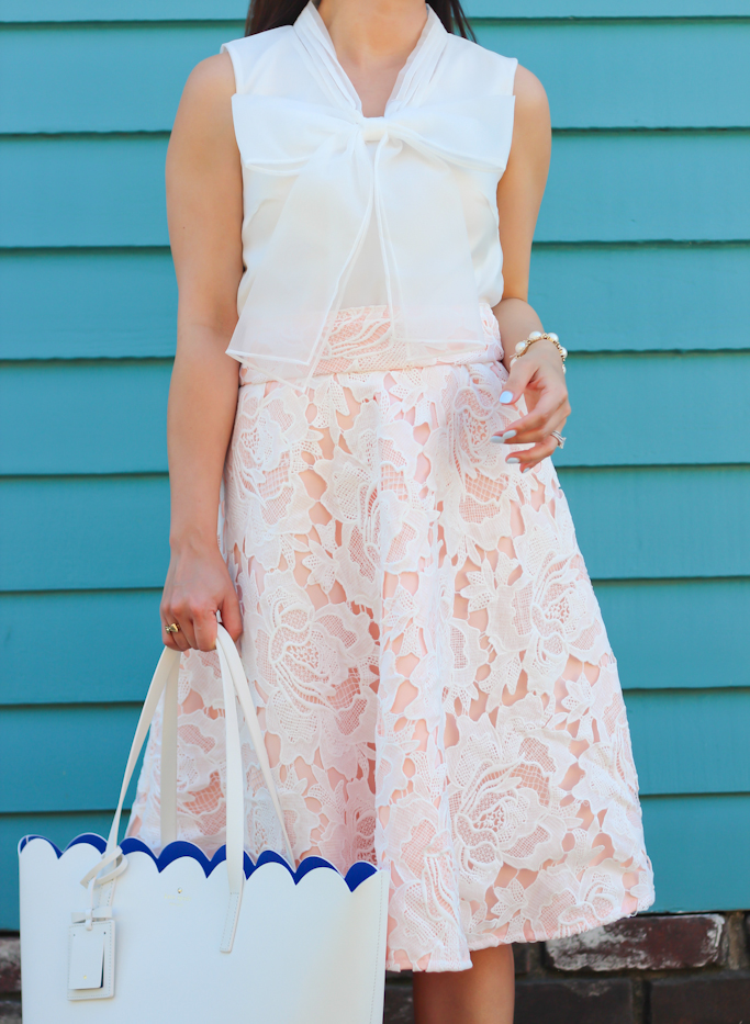 Chicwish lace midi skirt Kate Spade lily avenue scalloped tote bowknot organza top nude louboutin pumps