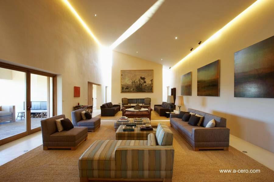 Amplia sala de estar diseño interior contemporáneo