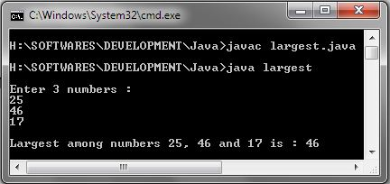 Find Largest Among Three Numbers in Java