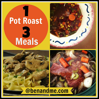 This is really great - learn how to get 3 meals out of one pot roast! Talk about a time saver!