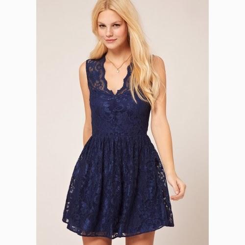 vestido encaje azul para gorditas