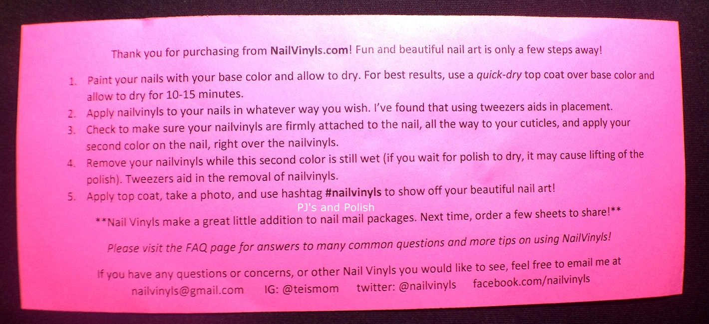 Swatch and Review Nail Vinyls Instructions