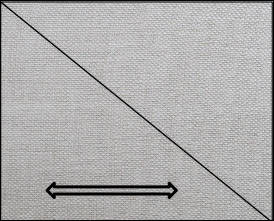 cut fabric into 2 triangles