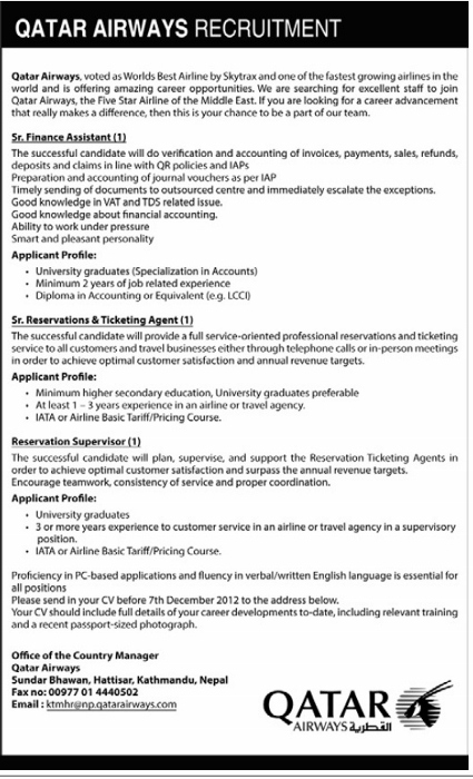 Career Opportunities in Qatar Airways | Jobs in Nepal