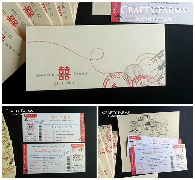 Penang red and gold chinese destination wedding card