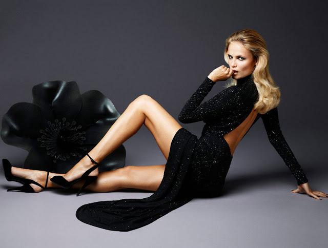 Natasha Poly sexy in black dress