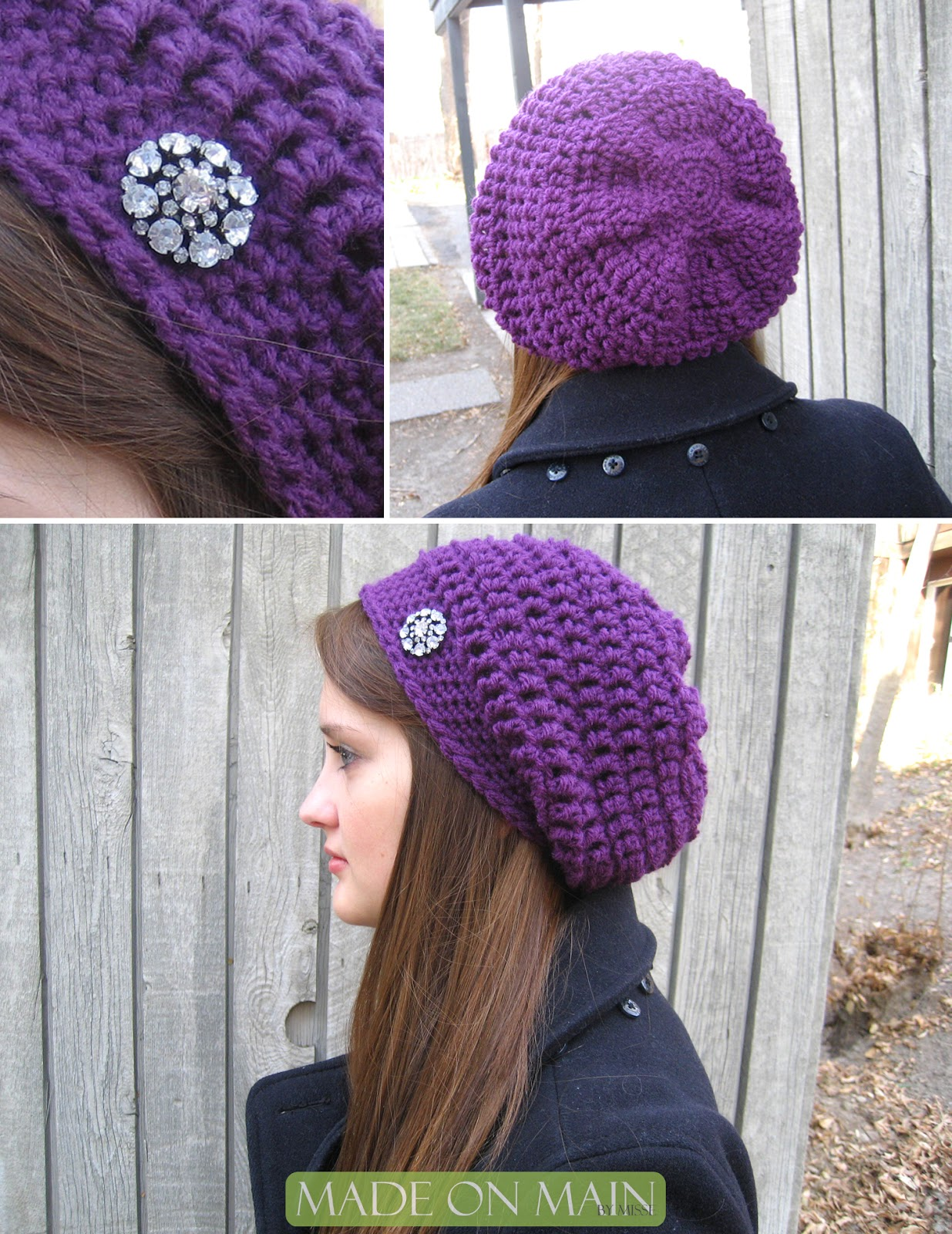 Crochet Tutorial Hat : used Red Heart yarn in purple and a crochet hook of size K (10 1/2 ...
