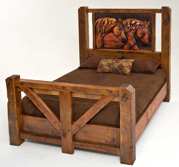 horse furniture barnwood bed horse