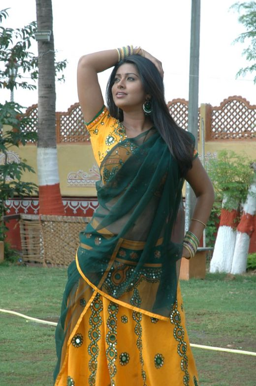 Sneha navel show in Transparent Half sari