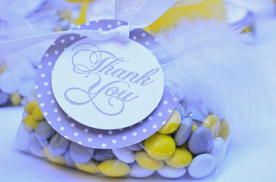 Custom Color M & M's Favors for Yellow and Gray Baby Shower