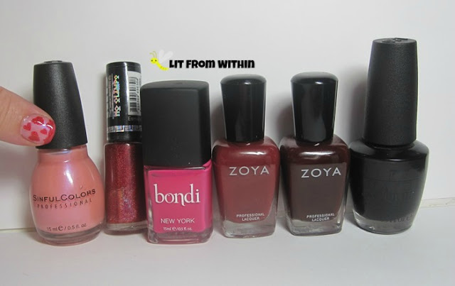 the bottle shot:  Sinful Colors Genteel (base color) Hits Ares, Bondi Fuschia-istic, Zoya Pepper, Zoya Paris, and OPI Black Onyx.