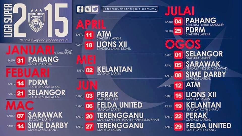 Jadual Perlawanan JDT Liga Super Malaysia 2015