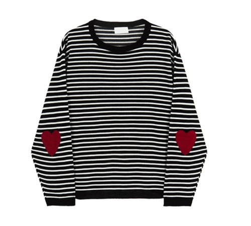 Heart Accent Striped Knit Top