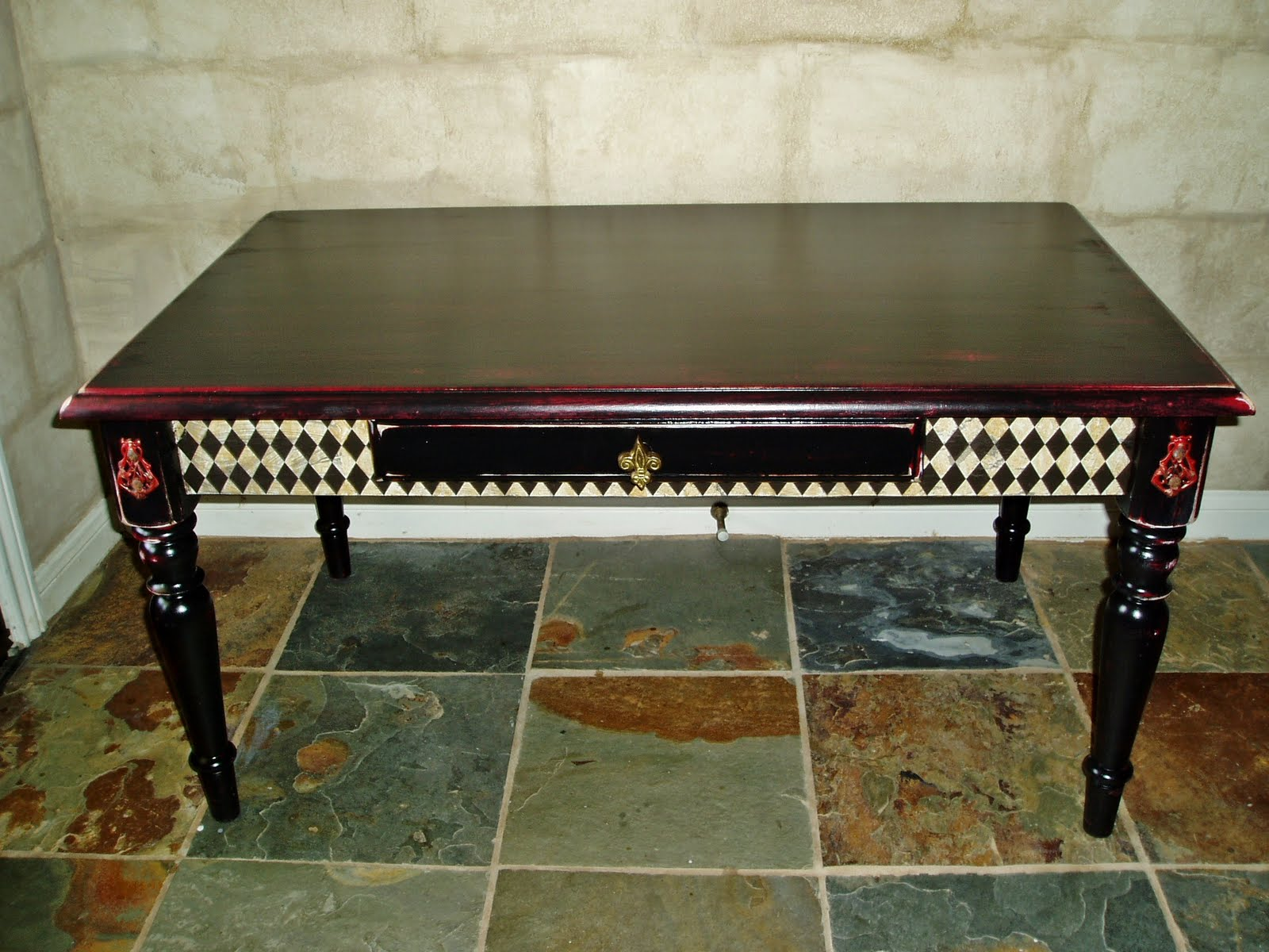 Faux Painting Furniture Black Red Harlequin Coffee Table